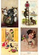 Cats, Lot Of 36 Old Postcards