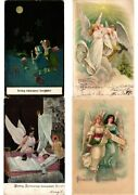 Christmas, Angels, Lot Of 40 Old Postcards