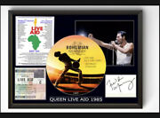 Freddie Mercury Queen Live Aid 1985 Cd Signed A4 Framed Tribute