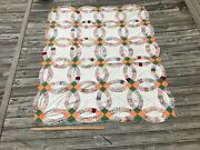 Antique Double Wedding Ring Quilt Top Feedsack Material Vintage