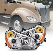 Headlights Pair Set Fits 2013-2017 Kenworth T680 Headlamps Replacement With In