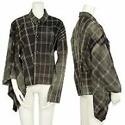 Comme Des Garcons Bleached Deformation Check Shirt Black Green M Used No.7974