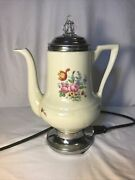 Vintage Royal Rochester Ceramic Electric Percolator Coffee Maker. Untested.