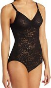 Bali Black Women's Size 36d V-neck Sheer Lace 'n Smooth Body Suits 58 780