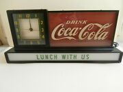 Coca Cola Vintage Fountain Lighted Display Clock And Sign 1954