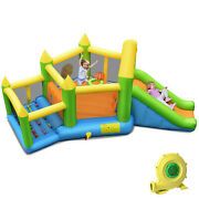Costway Inflatable Slide Bouncer Ball Pit Basketball Dart Game W/ 750w Blower