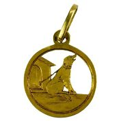 French 18k Yellow Gold Dog House Charm Pendant
