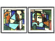 2 Harris G Strong Abstract, Hand Painted Ceramic Tiles, 80 + 81, Framed