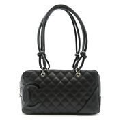 Cambon Line Bowling Boston Bag Leather Black Used