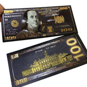 Antique Black Gold Foil Usd 100 Currency Commemorative Dollars Banknotes Deco Pand039