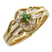Jewelry Garnet Ring 18k Yellow Gold Clear Green Used 11