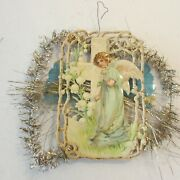 Antique Victorian Scrap Tinsel Xmas Ornament Angel Cross Lily Valley Flower