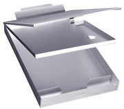 Metal Clipboard Case With Storage Box A4 Paper Self Locking Holder Aluminum New