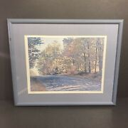 """Vintage Framed Charles Beckendorf Print """"green Trees And Paved Road"""" 103 Of 500"""