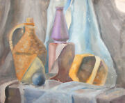 Vintage Oil Painting Still Life With Demijohn, Vase And Basket