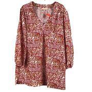 Jude Connally Womens Top L V-neck 3/4 Sleeves Stretch Multicolor Print New Nwt