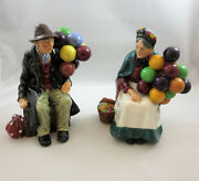 Set Of 2 Vintage Royal Doulton Old Balloon Seller And The Balloon Man Figurines