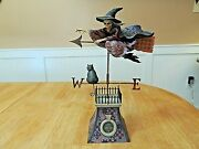Jim Shore Comes The Storm Skeleton Flying Witch Cat Halloween Ex++, No Box