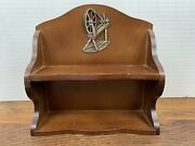 Small Vintage Wooden Sewing Display Shelf W/ Old Fashion Sewing Machine Motif