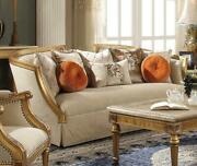 Acme Daesha Sofa With 8 Pillows In Fabric And Antique Gold Finish 50835