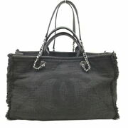 2way Handbags A57180 Cotton Leather Black Silver Fittings No.5450