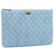 Denim Blue Clutch Bag Large Pouch Women And039s Mens Quilting No.6779