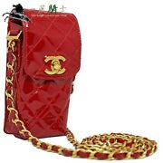 412725 Chain Pouch Bag Matelasse Patent Leather Red Shoulder No.6916