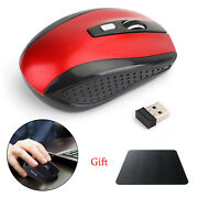 Wireless Optical Mouse Mice Usb Receiver 2.4ghz For Pc Laptop Computer Red Ua