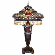 Victorian Style Stained Glass 27.5 Double Lit Table Lamp