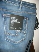 Nwt Silver Jeans Straight Avery Mid Distressed Medium Stretch Plus 22/31 20/31