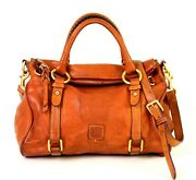 Dooney And Bourke Tan Brown Thick Genuine Leather Satchel Shoulder Bag X-body