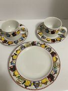 """Mary Engelbreit """"afternoon Tea"""" Dishes. 2 Cups, 2 Saucers, And A Cookie Plate"""