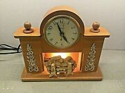 Vintage United Clock Corp Clock Lighted Fireplace Mantle Electric Power Works