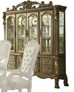 Acme Dresden Hutch And Buffet In Gold Patina And Bone Finish 63155