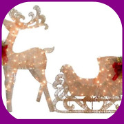 Reindeer And Santa's Sleigh With Led Lights Outdoor Christmas Decorations