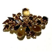 Vintage Brown Rhinestone Gripoix Glass Cabs Made In Austria Brooch Signed