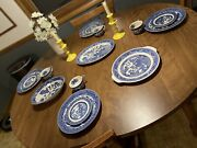 Lovely Antique Setantique Willow Blue Willow Dishes. Coffee Cups Saucers Dish