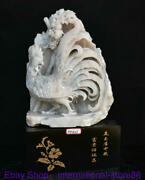 18 China Natural Xiu Jade Carving Feng Shui Cock Rooster Flower Luck Statue