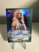 2021 Wwe Topps Chrome Scarlett Green Parallel On Card Autograph 76/99