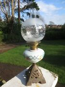 Antique Duplex Oil Lamp Chimney And Original Etched Shade Shepards Hut Farmhouse