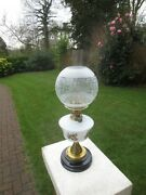 Superb Veritas Antique Brass And Glass Oil Lamp With Original Shade And Chimney