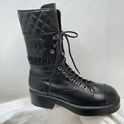 Nib 2021 Black Quilted Leather Combat Boots 38 Eur Size Lace Ups Cc Logo