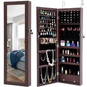 Armoire Large Jewelry Box Organizer Mirror Wall Door Mounted Jewelry Cabinet Led