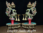 15.7 Old Copper Inlay Turquoise Gem Phoenix Bird Candle Holder Candlestick Pair