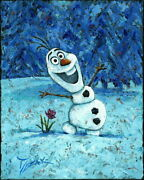 Disney Paintings Frozen/olaf Limited To 95 Copies Canvas Zikre Picture Frame