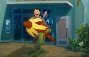 Disney Paintings Stitch/space Adventure Limited To 95 Copies Canvas Zikre