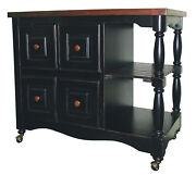 Sunset Trading Regal Kitchen Cart With Antique Black Dcy-crt-03-bch