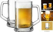 Classic Large Beer Mugs With Handles, By , Solid Glass, Large, Freezer Safe,