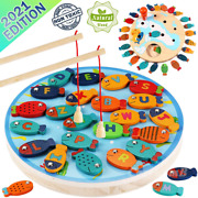 Cozybomb Magnetic Wooden Fishing Game Toy For Toddlers - Alphabet Fish Large