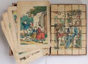 1860 Antique Victorian Wood Block Puzzle Toy Color Engravings Box German Godey
